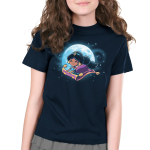 Magic Carpet Ride Kid's t-shirt model officially licensed navy Disney t-shirt featuring Jasmine from Aladdin riding the magic carpet with a full moon and stars behind her