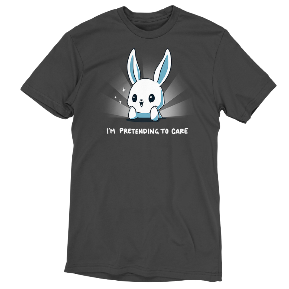 I'm Pretending to Care t-shirt TeeTurtle silver t-shirt featuring a bunny with its head resting on its hands looking bright eyed and cherry