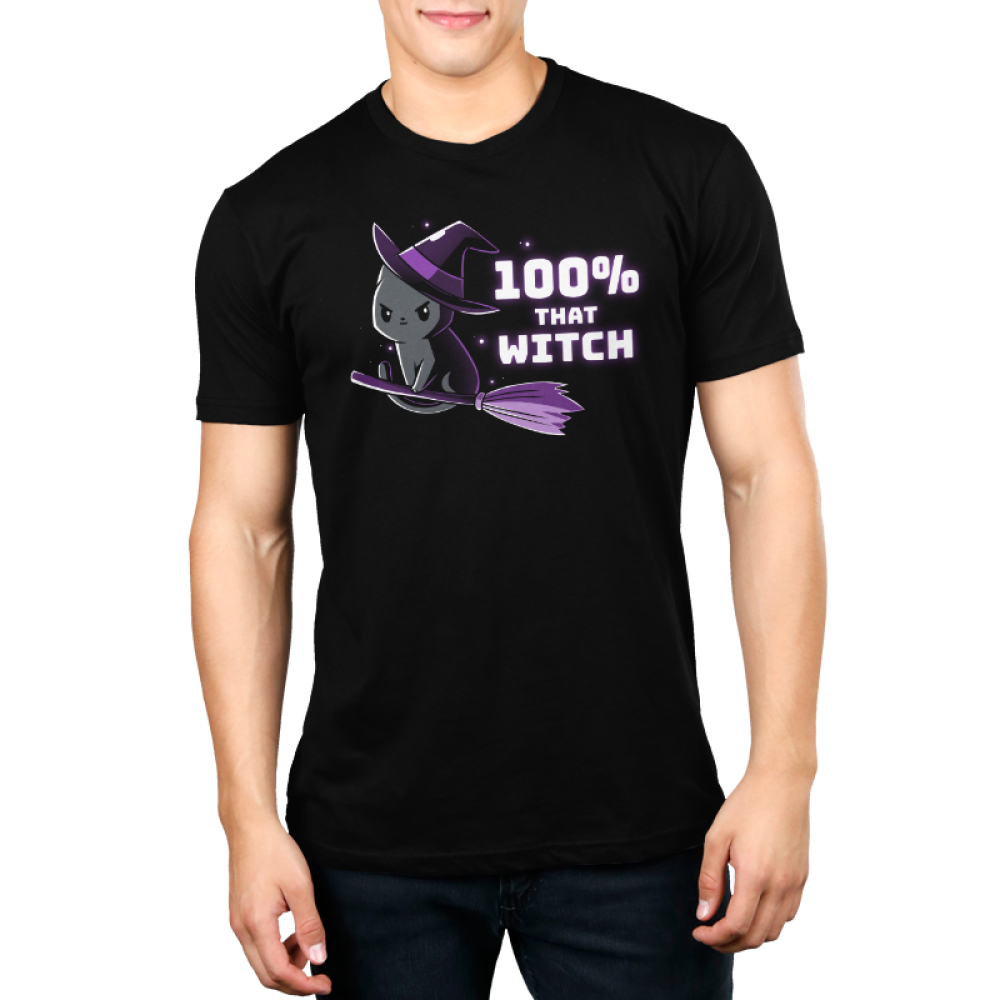 100% That Witch Men's t-shirt model TeeTurtle black t-shirt featuring a black cat with a purple witches hat flying a purple broom