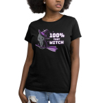 100% That Witch Women's t-shirt model TeeTurtle black t-shirt featuring a black cat with a purple witches hat flying a purple broom