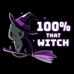 100% That Witch t-shirt TeeTurtle black t-shirt featuring a black cat with a purple witches hat flying a purple broom