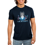I Love Witchcrafts Men's t-shirt model TeeTurtle navy t-shirt featuring a cat starring down a swirling crystal call with its paws around it with candles and potions on the table