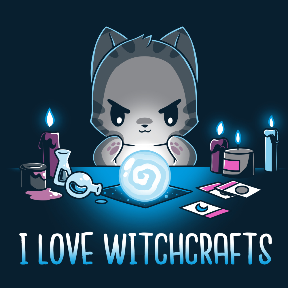 I Love Witchcrafts t-shirt TeeTurtle navy t-shirt featuring a cat starring down a swirling crystal call with its paws around it with candles and potions on the table