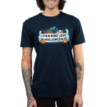 I F***ing Love Halloween Men's t-shirt model TeeTurtle navy t-shirt featuring a white banner in the middle surrounded by ghosts, pumpkins, a cat in a witches hat, spiders, and a bat