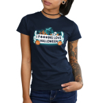 I F***ing Love Halloween Junior's t-shirt model TeeTurtle navy t-shirt featuring a white banner in the middle surrounded by ghosts, pumpkins, a cat in a witches hat, spiders, and a bat