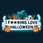I F***ing Love Halloween t-shirt TeeTurtle navy t-shirt featuring a white banner in the middle surrounded by ghosts, pumpkins, a cat in a witches hat, spiders, and a bat