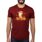 Pumpkin Spice Unicorn Men's t-shirt model TeeTurtle garnet red t-shirt featuring an orange and yellow unicorn drinking a latte surrounded by pumpkins and falling leaves