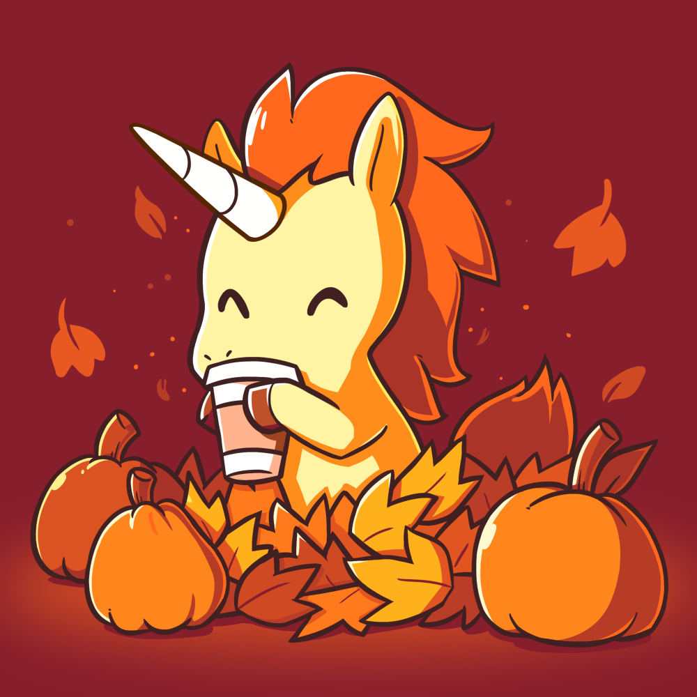 Pumpkin Spice Unicorn t-shirt TeeTurtle garnet red t-shirt featuring an orange and yellow unicorn drinking a latte surrounded by pumpkins and falling leaves