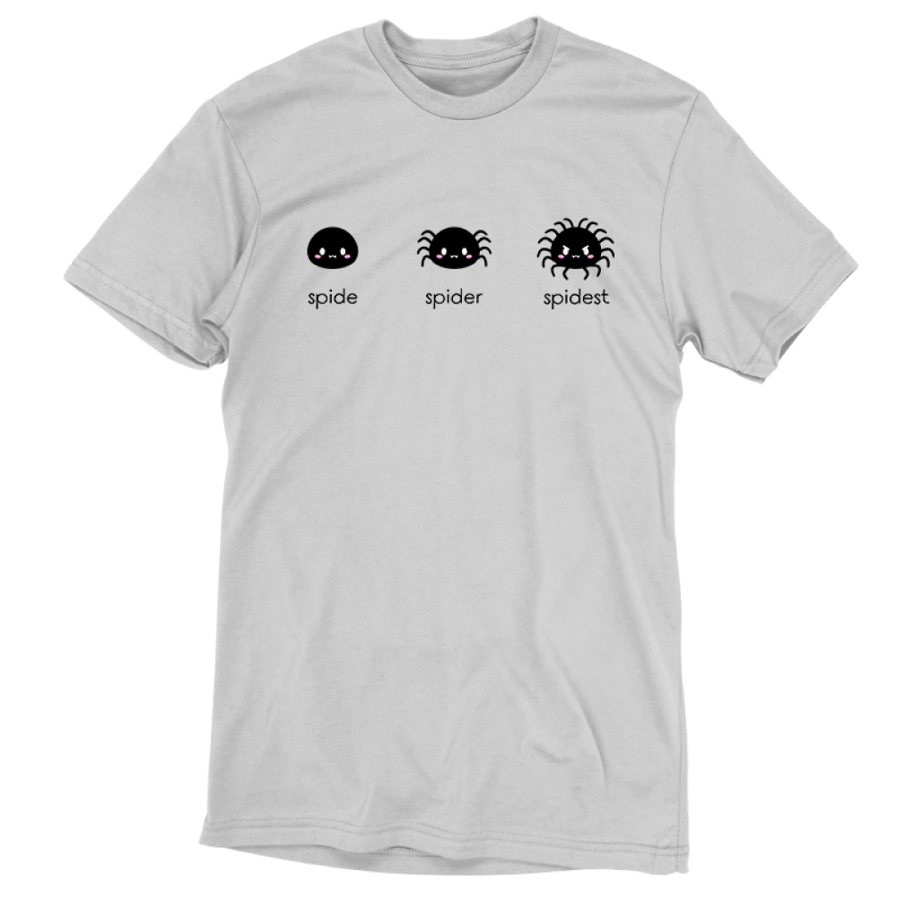 Spider Evolution t-shirt TeeTurtle silver t-shirt featuring one spider with no legs, the next sider with 8 legs, and the last spider with 18 legs