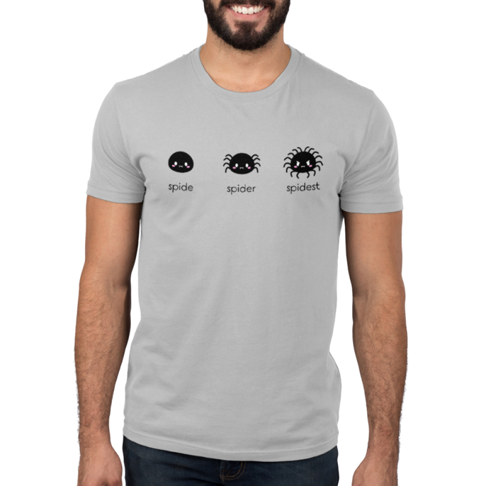 Spider Evolution Men's t-shirt model TeeTurtle silver t-shirt featuring one spider with no legs, the next sider with 8 legs, and the last spider with 18 legs