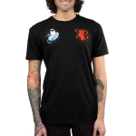 Cat on Your Shoulders Men's t-shirt model TeeTurtle black t-shirt featuring a white angel cat on the left sleeping on a cloud and a red devil cat on the right holding a pitch fork