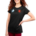 Cat on Your Shoulders Women's t-shirt model TeeTurtle black t-shirt featuring a white angel cat on the left sleeping on a cloud and a red devil cat on the right holding a pitch fork