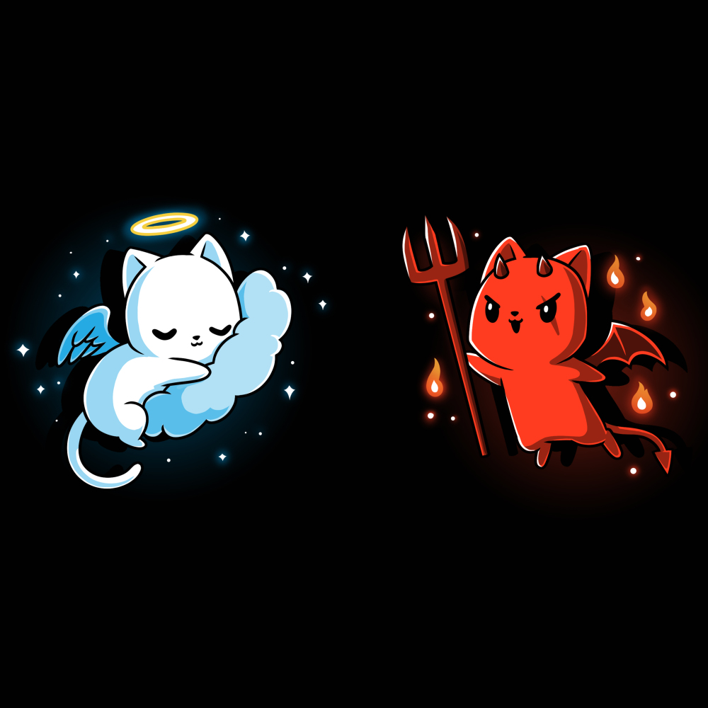 Cat on Your Shoulders t-shirt TeeTurtle black t-shirt featuring a white angel cat on the left sleeping on a cloud and a red devil cat on the right holding a pitch fork