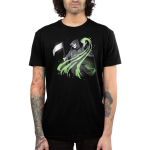 Grim Reaper (Glow) Men's t-shirt model TeeTurtle black t-shirt featuring the grim reaper in his black cloak holding it scythe with a green swirl coming out of his hand