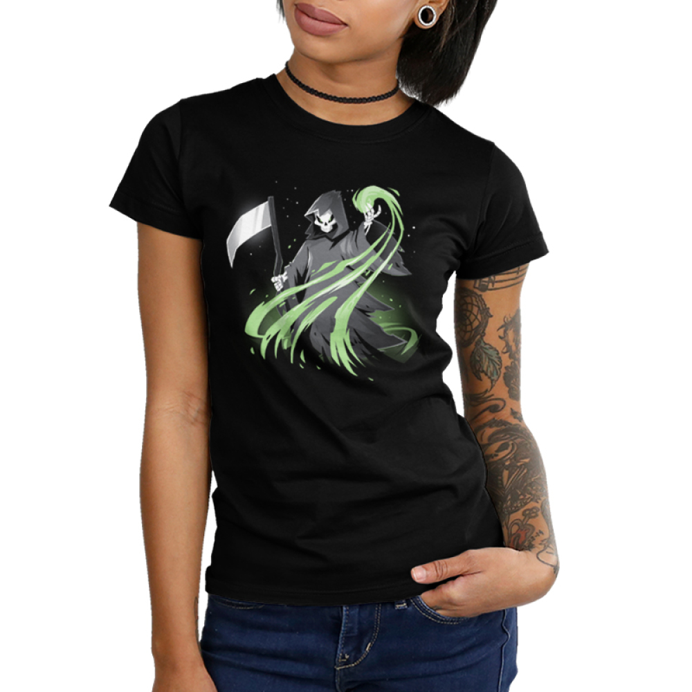 Grim Reaper (Glow) Junior's t-shirt model TeeTurtle black t-shirt featuring the grim reaper in his black cloak holding it scythe with a green swirl coming out of his hand