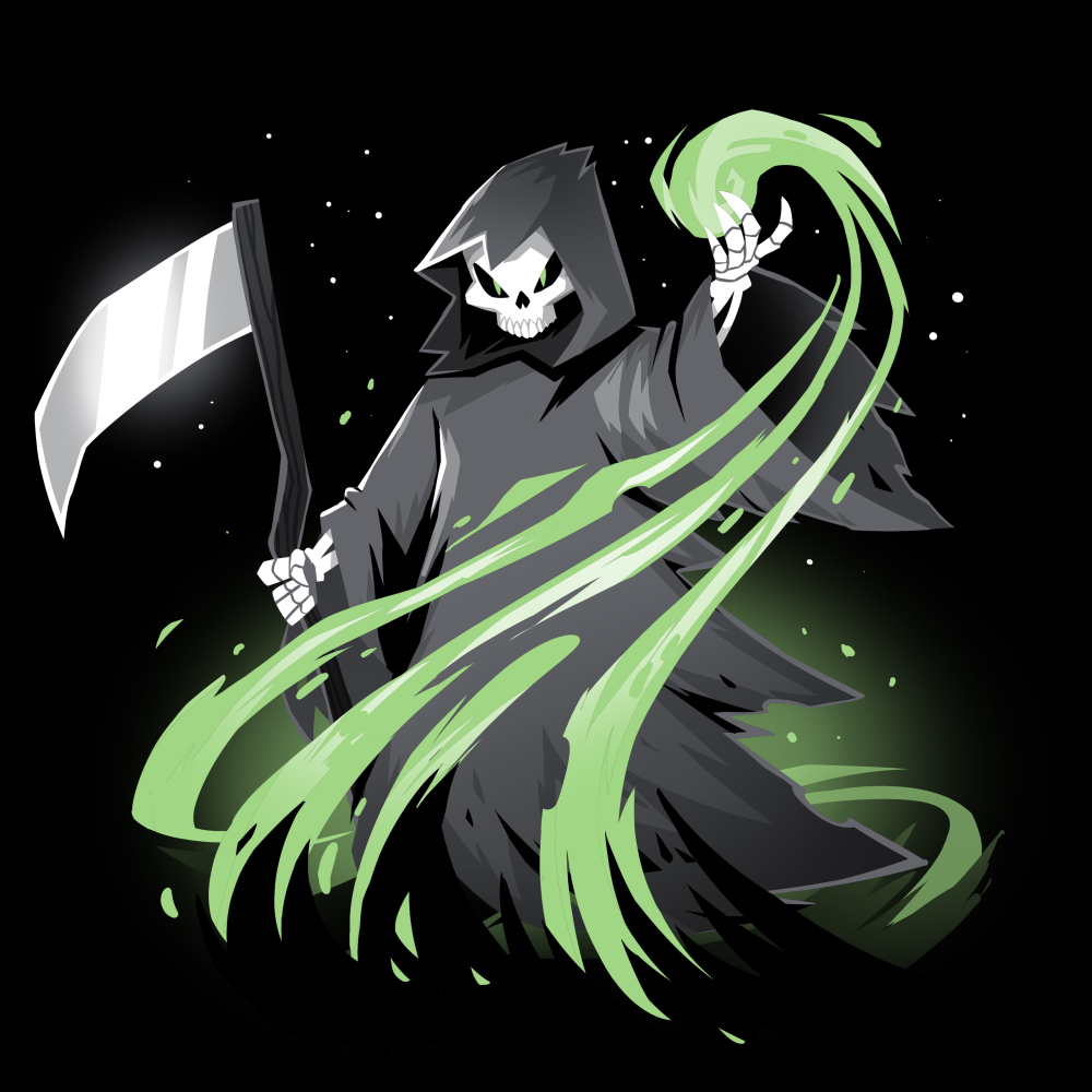 Grim Reaper (Glow) t-shirt TeeTurtle black t-shirt featuring the grim reaper in his black cloak holding it scythe with a green swirl coming out of his hand