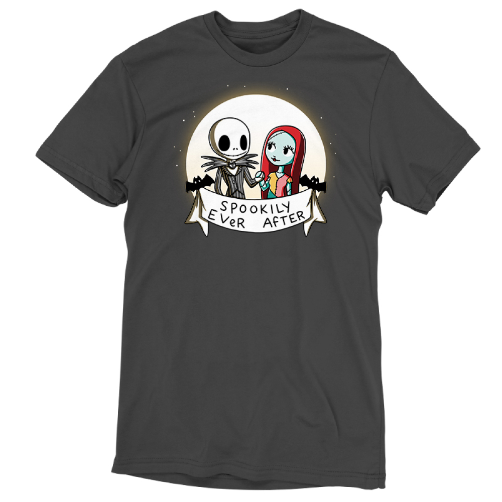 Spookily Ever After t-shirt officially licensed The Nightmare Before Christmas t-shirt featuring Jack and Sally holding hands in front of a full moon