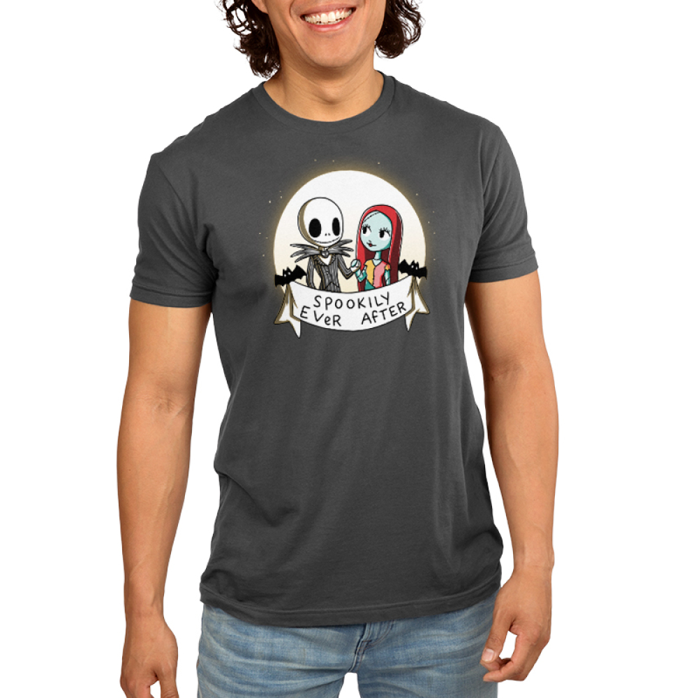 Spookily Ever After Men's t-shirt model officially licensed The Nightmare Before Christmas t-shirt featuring Jack and Sally holding hands in front of a full moon