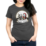 Spookily Ever After Women's t-shirt model officially licensed The Nightmare Before Christmas t-shirt featuring Jack and Sally holding hands in front of a full moon