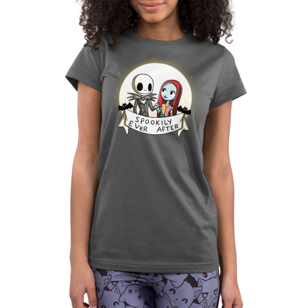 Spookily Ever After Junior's t-shirt model officially licensed The Nightmare Before Christmas t-shirt featuring Jack and Sally holding hands in front of a full moon