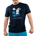First Cardio, Then Cake Men's t-shirt model TeeTurtle navy t-shirt featuring a bunny wearing a pink sweat band running on a blue treadmill with sweat coming off its head with a little dream bubble to the left of him with a slice of cake in it