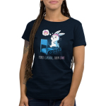 First Cardio, Then Cake Women's t-shirt model TeeTurtle navy t-shirt featuring a bunny wearing a pink sweat band running on a blue treadmill with sweat coming off its head with a little dream bubble to the left of him with a slice of cake in it