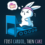 First Cardio, Then Cake t-shirt TeeTurtle navy t-shirt featuring a bunny wearing a pink sweat band running on a blue treadmill with sweat coming off its head with a little dream bubble to the left of him with a slice of cake in it