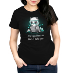 My Hypothesis is That I Hate You Women's t-shirt model TeeTurtle black t-shirt featuring a panda sitting down with turquoise science goggle on looking angry with a piece of paper in his hands and science flasks full of turquoise liquid bubbling behind him