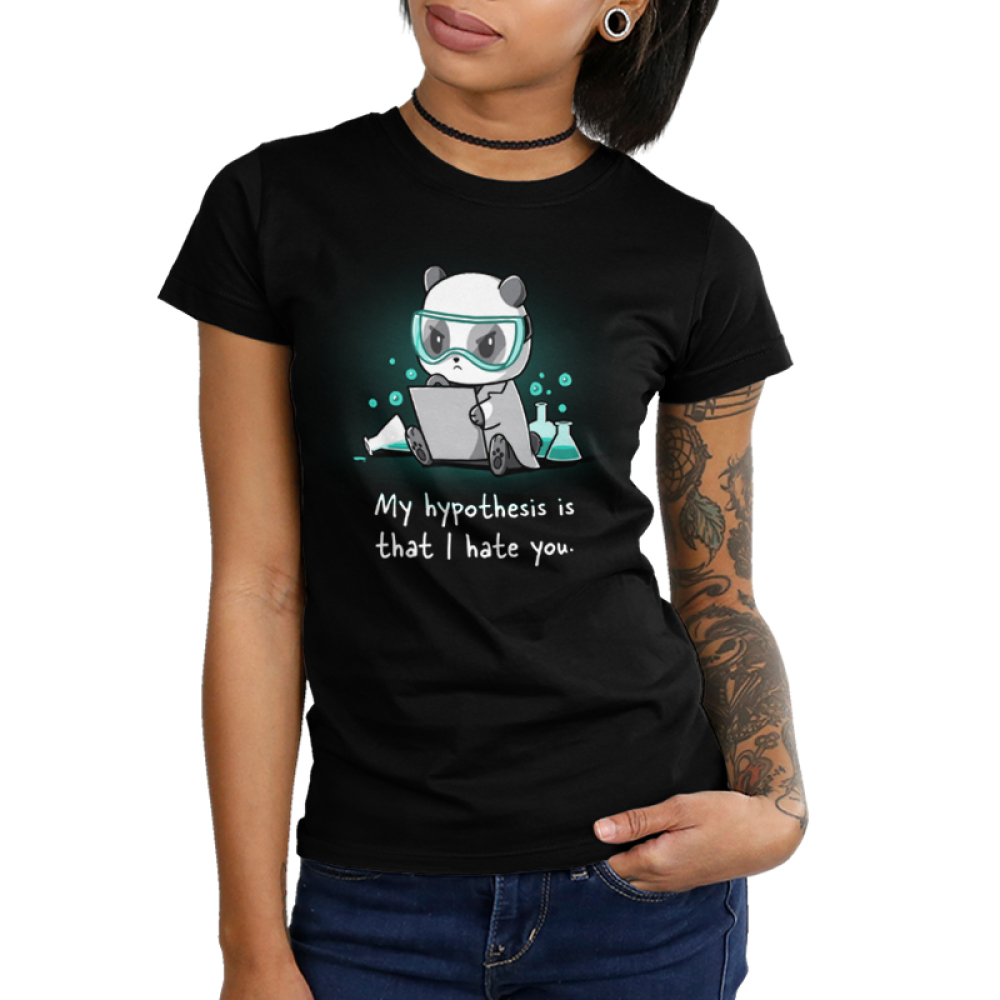 My Hypothesis is That I Hate You Junior's t-shirt model TeeTurtle black t-shirt featuring a panda sitting down with turquoise science goggle on looking angry with a piece of paper in his hands and science flasks full of turquoise liquid bubbling behind him