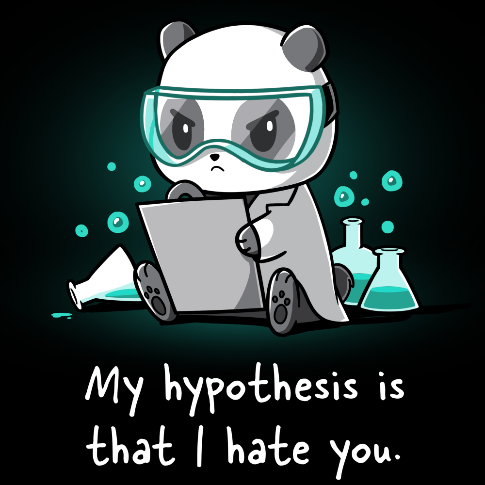 My Hypothesis is That I Hate You t-shirt TeeTurtle black t-shirt featuring a panda sitting down with turquoise science goggle on looking angry with a piece of paper in his hands and science flasks full of turquoise liquid bubbling behind him