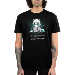My Hypothesis is That I Hate You Men's t-shirt model TeeTurtle black t-shirt featuring a panda sitting down with turquoise science goggle on looking angry with a piece of paper in his hands and science flasks full of turquoise liquid bubbling behind him