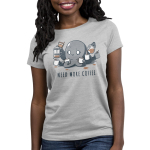 Need More Coffee (Octopus) Women's t-shirt model TeeTurtle silver t-shirt featuring a wide eyed, manic looking octopus holding a white coffee mug in each tentacle and pouring coffee from a french press and coffee pot