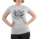 Need More Coffee (Octopus) Junior's t-shirt model TeeTurtle silver t-shirt featuring a wide eyed, manic looking octopus holding a white coffee mug in each tentacle and pouring coffee from a french press and coffee pot