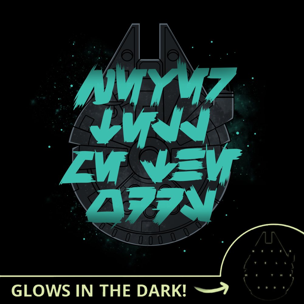 Never Tell Me The Odds (Glow) t-shirt officially licensed black Star Wars t-shirt featuring a flat image of the Millennium Falcon in space with star wars language text in turquoise over the ship