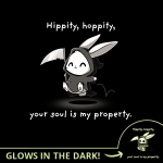 Hippity Hoppity Your Soul is My Property (Glow) t-shirt TeeTurtle black t-shirt featuring a cheerful looking bunny dressed as the grim reaper with a scythe in its hand