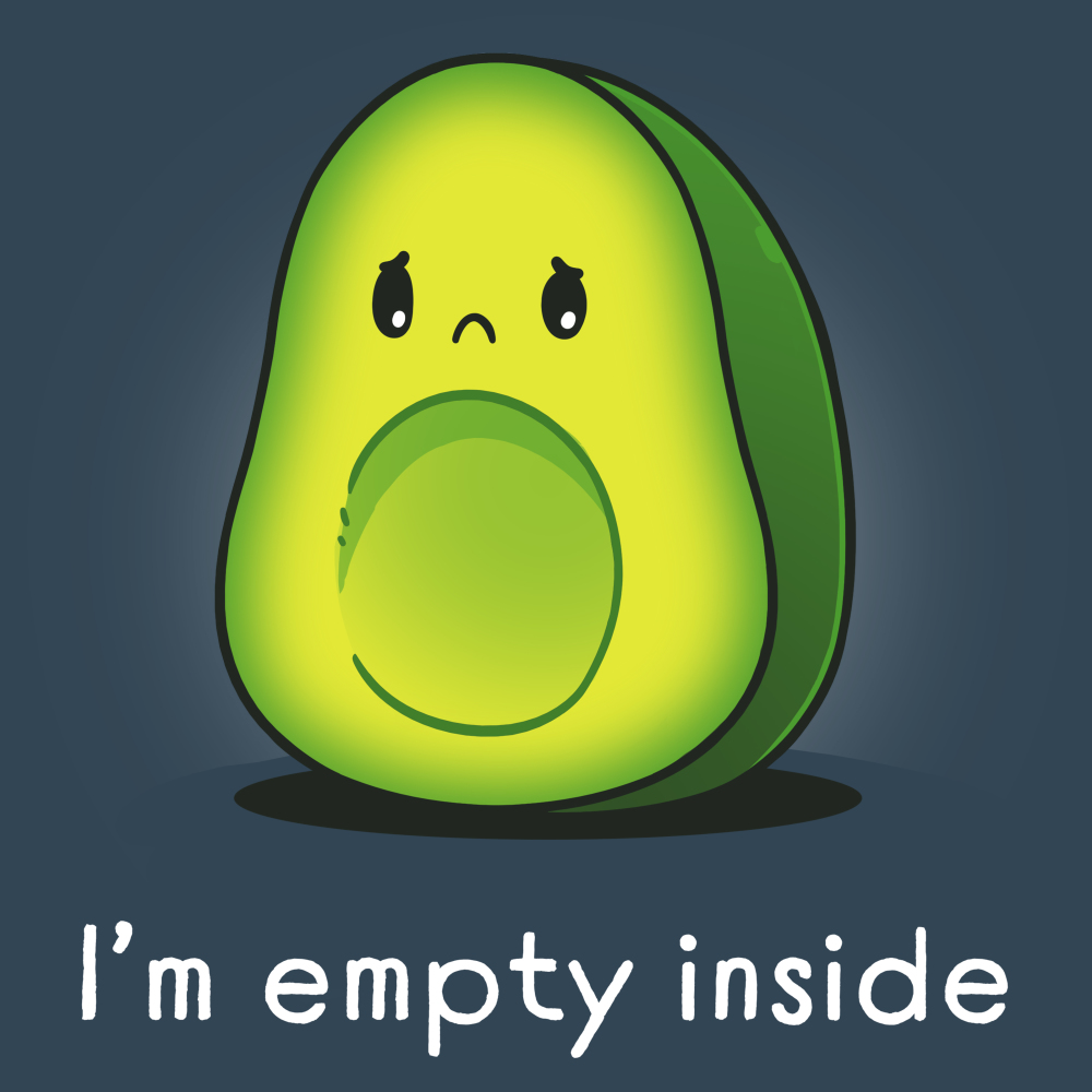 I'm Empty Inside t-shirt TeeTurtle denim blue t-shirt featuring a sad looking green avocado with the pit missing from its belly