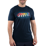 Rainbow Roll Men's t-shirt model TeeTurtle navy t-shirt featuring six pieces of cut up sushi with the middle of each colored a different color of the rainbow with a red panda laying on top of each sushi roll in the same color and the sushi piece