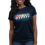 Rainbow Roll Women's t-shirt model TeeTurtle navy t-shirt featuring six pieces of cut up sushi with the middle of each colored a different color of the rainbow with a red panda laying on top of each sushi roll in the same color and the sushi piece