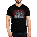 Horror Explorer Men's t-shirt model TeeTurtle black t-shirt featuring a white cat sitting on the ground with a video game controller in its paws with a spooky grave yard behind him with a red and black background with the outlines of twisty trees