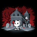 Horror Explorer t-shirt TeeTurtle black t-shirt featuring a white cat sitting on the ground with a video game controller in its paws with a spooky grave yard behind him with a red and black background with the outlines of twisty trees