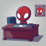 Desk Job t-shirt officially licensed silver Marvel t-shirt featuring Spider-Man sitting at a brown desk with papers and a phone on it with a picture of him on the wall behind him