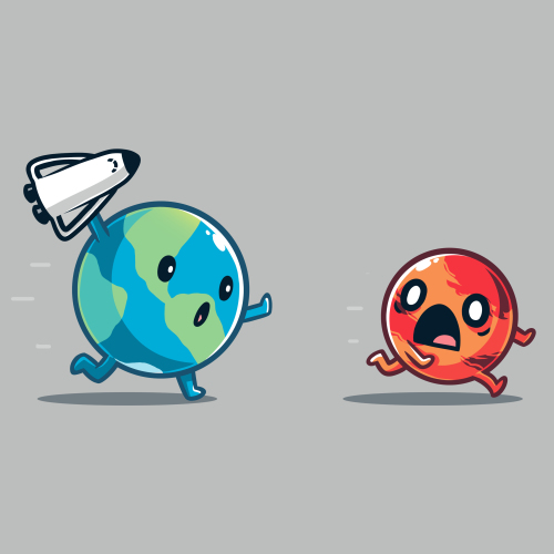 Mars Invasion t-shirt TeeTurtle silver t-shirt featuring the planet earth with arms and legs running with a space ship in its hand running afters the planet mars who is running away looking scared