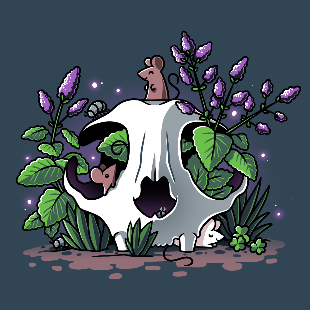 Skullduggery t-shirt TeeTurtle denim blue t-shirt featuring an animal skull with green leaves and purple flowers growing out of it with three smiley mice, one on top of the skull, one poking out of the eye of the skull, and one underneath the skull on the ground