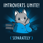 Introverts Unite! (Separately) t-shirt TeeTurtle navy t-shirt featuring a gray stripped way waving its paw while wrapped in a blue blanket with two books stacked behind him as well as a gaming controller