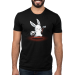 Killer Bunny Men's t-shirt model TeeTurtle black t-shirt featuring a white smiley bunny hoping in the air with a ski mask in one hand and an axe in the other