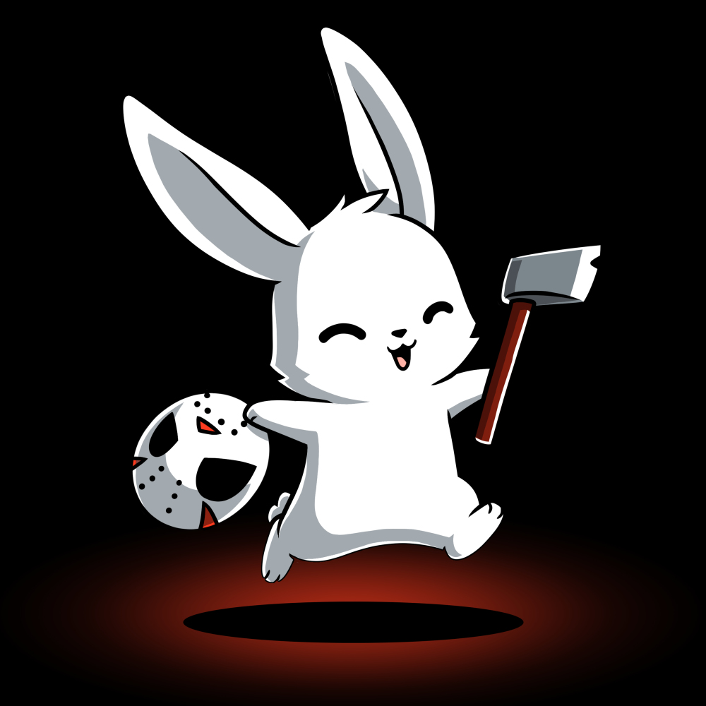 Killer Bunny t-shirt TeeTurtle black t-shirt featuring a white smiley bunny hoping in the air with a ski mask in one hand and an axe in the other