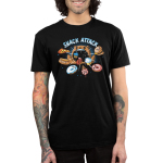 Snack Attack Men's t-shirt model TeeTurtle black t-shirt featuring a bear with its arms in the air and its mouth wide open with food (pizza, hot dog, donuts, cupcakes, and a burger) getting sucked in its mouth