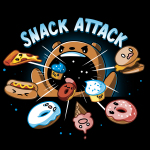 Snack Attack t-shirt TeeTurtle black t-shirt featuring a bear with its arms in the air and its mouth wide open with food (pizza, hot dog, donuts, cupcakes, and a burger) getting sucked in its mouth