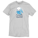 I Just Finished a Great Book t-shirt TeeTurtle silver t-shirt featuring a white bunny holding a blue book, and crying in joy since it just finished a great book.