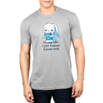 I Just Finished a Great Book Men's t-shirt model TeeTurtle silver t-shirt featuring a white bunny holding a blue book, and crying in joy since it just finished a great book.